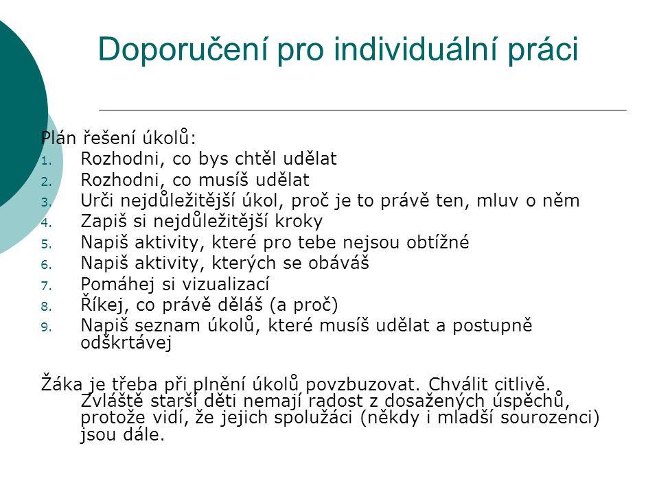 Doporučení pro individuální práci Plán řešení úkolů: 1.