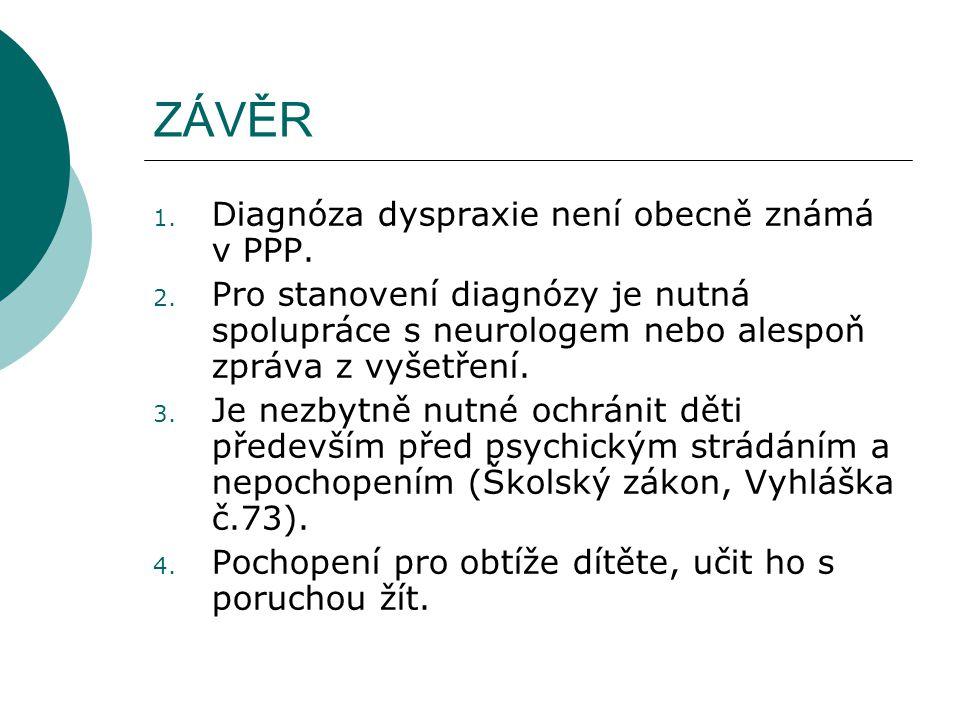 ZÁVĚR 1. Diagnóza dyspraxie není obecně známá v PPP. 2. Pro stanovení diagnózy je nutná spolupráce s neurologem nebo alespoň zpráva z vyšetření. 3. Je