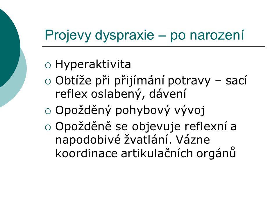 Projevy dyspraxie – po narození HHyperaktivita OObtíže při přijímání potravy – sací reflex oslabený, dávení OOpožděný pohybový vývoj OOpožděně se objevuje reflexní a napodobivé žvatlání.