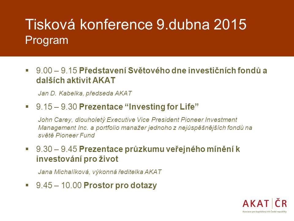 Tisková konference 9.dubna 2015 Program  9.00 – 9.15 Představení Světového dne investičních fondů a dalších aktivit AKAT Jan D.