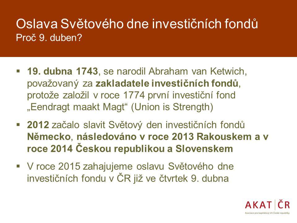 Světový den investičních fondů 2015 Zapojení AKAT  Druhý ročník evropské akce  Zapojená Asociace pro kapitálový trh a její členové, investiční společnosti a banky, kteří nabízejí v rámci oslav tohoto dne zajímavé nabídky pro investory  výhody formou slev na poplatcích, dárků, informačních materiálů a konzultací pro investory  v průběhu dubna – u každé společnosti individuální forma a trvání oslavy  Tisková konference 9.4.2015 za účasti Johna Careyho