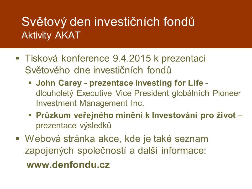Světový den investičních fondů Aktivity AKAT  Tisková konference 9.4.2015 k prezentaci Světového dne investičních fondů  John Carey - prezentace Investing for Life - dlouholetý Executive Vice President globálních Pioneer Investment Management Inc.