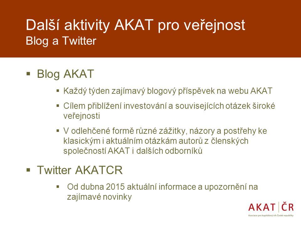 Další aktivity AKAT pro veřejnost Blog a Twitter  Blog AKAT  Každý týden zajímavý blogový příspěvek na webu AKAT  Cílem přiblížení investování a souvisejících otázek široké veřejnosti  V odlehčené formě různé zážitky, názory a postřehy ke klasickým i aktuálním otázkám autorů z členských společností AKAT i dalších odborníků  Twitter AKATCR  Od dubna 2015 aktuální informace a upozornění na zajímavé novinky
