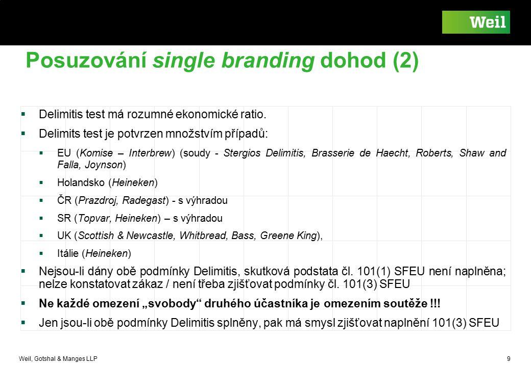 Weil, Gotshal & Manges LLP 9 Posuzování single branding dohod (2)  Delimitis test má rozumné ekonomické ratio.  Delimits test je potvrzen množstvím