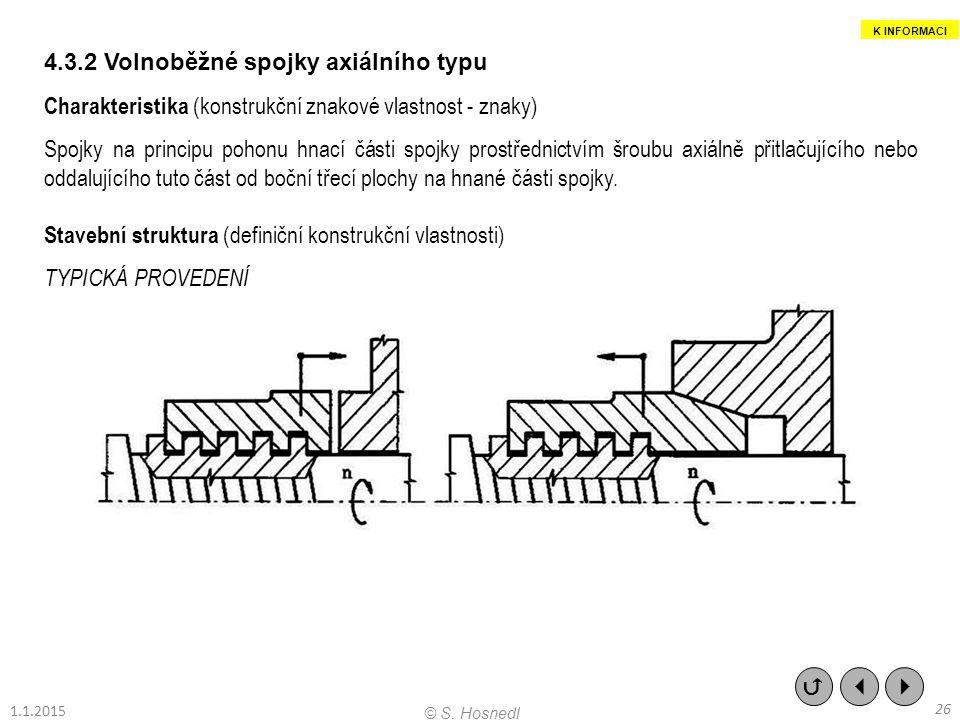 4.3.2 Volnoběžné spojky axiálního typu Charakteristika (konstrukční znakové vlastnost - znaky) Spojky na principu pohonu hnací části spojky prostředni