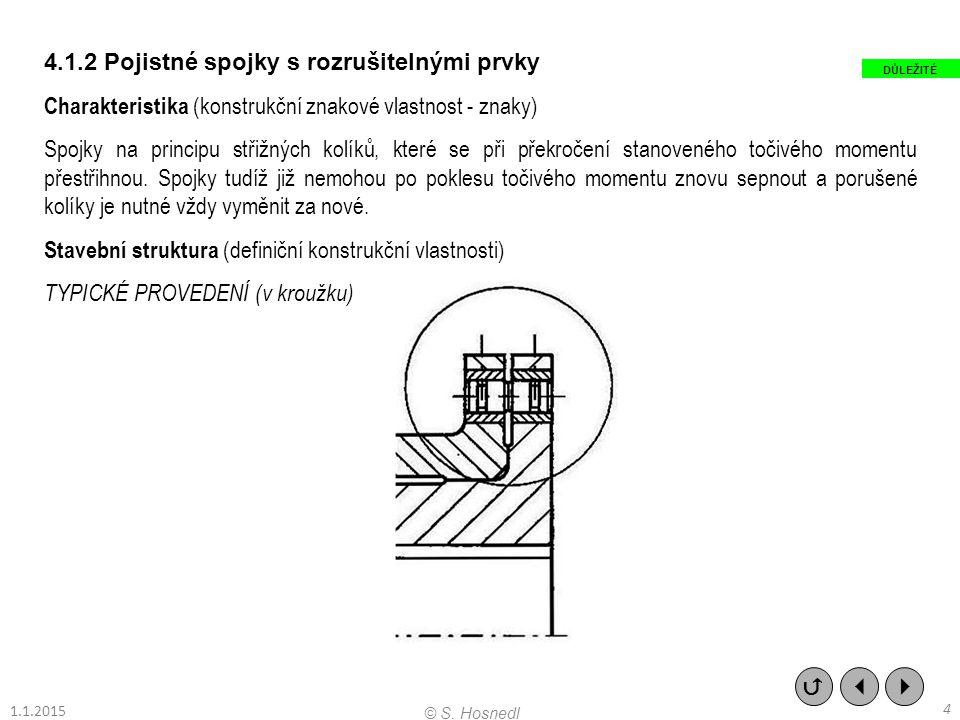 4.1.2 Pojistné spojky s rozrušitelnými prvky Charakteristika (konstrukční znakové vlastnost - znaky) Spojky na principu střižných kolíků, které se při