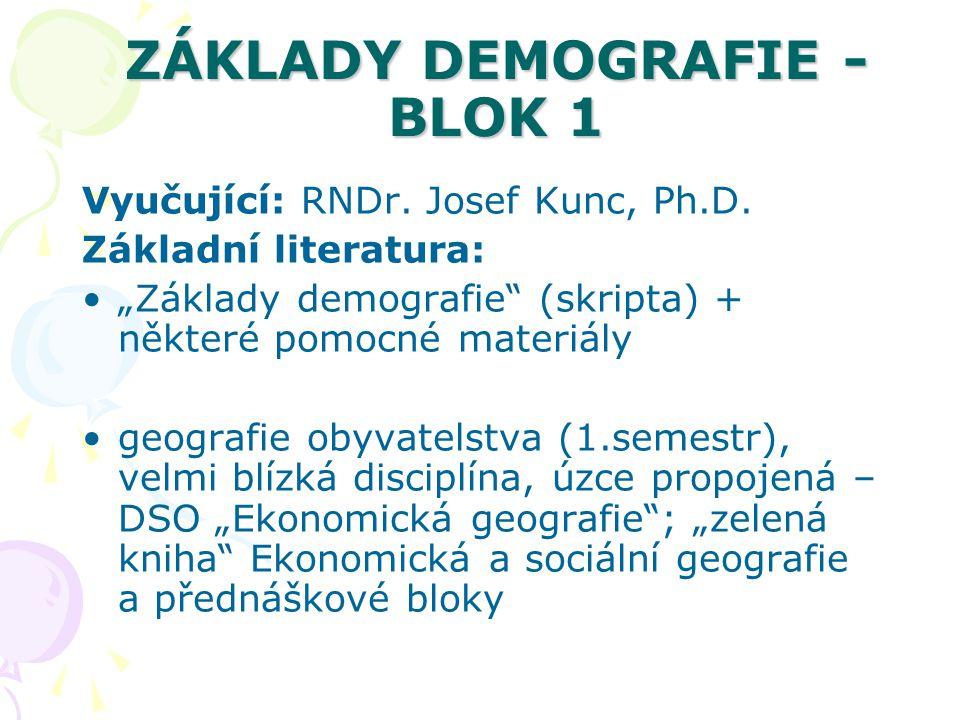 """ZÁKLADY DEMOGRAFIE - BLOK 1 Vyučující: RNDr. Josef Kunc, Ph.D. Základní literatura: """"Základy demografie"""" (skripta) + některé pomocné materiály geograf"""