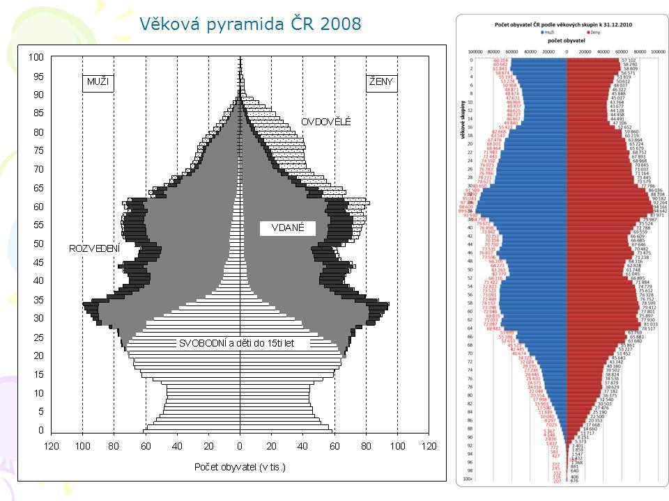 Věková pyramida ČR 2008
