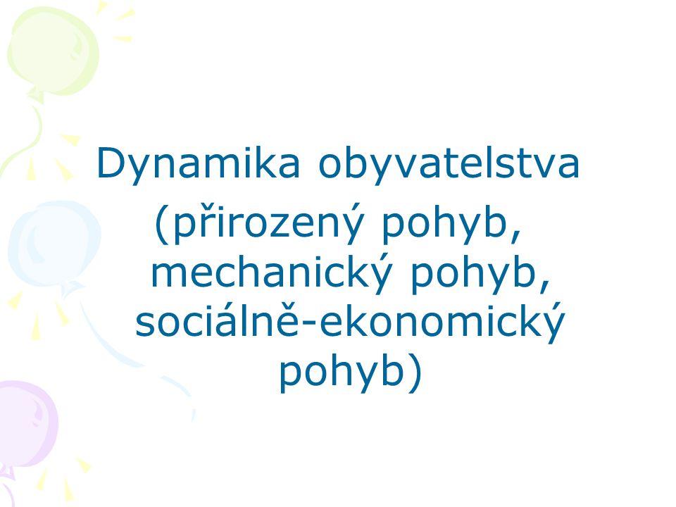 Dynamika obyvatelstva (přirozený pohyb, mechanický pohyb, sociálně-ekonomický pohyb)