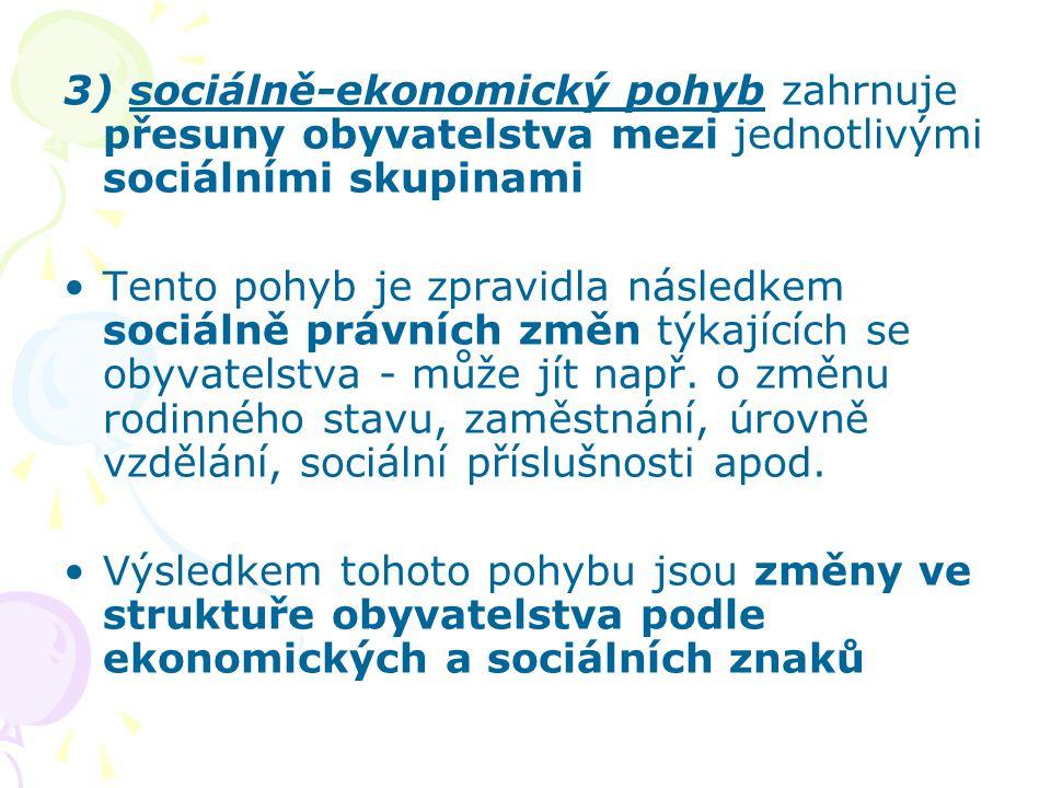 3) sociálně-ekonomický pohyb zahrnuje přesuny obyvatelstva mezi jednotlivými sociálními skupinami Tento pohyb je zpravidla následkem sociálně právních