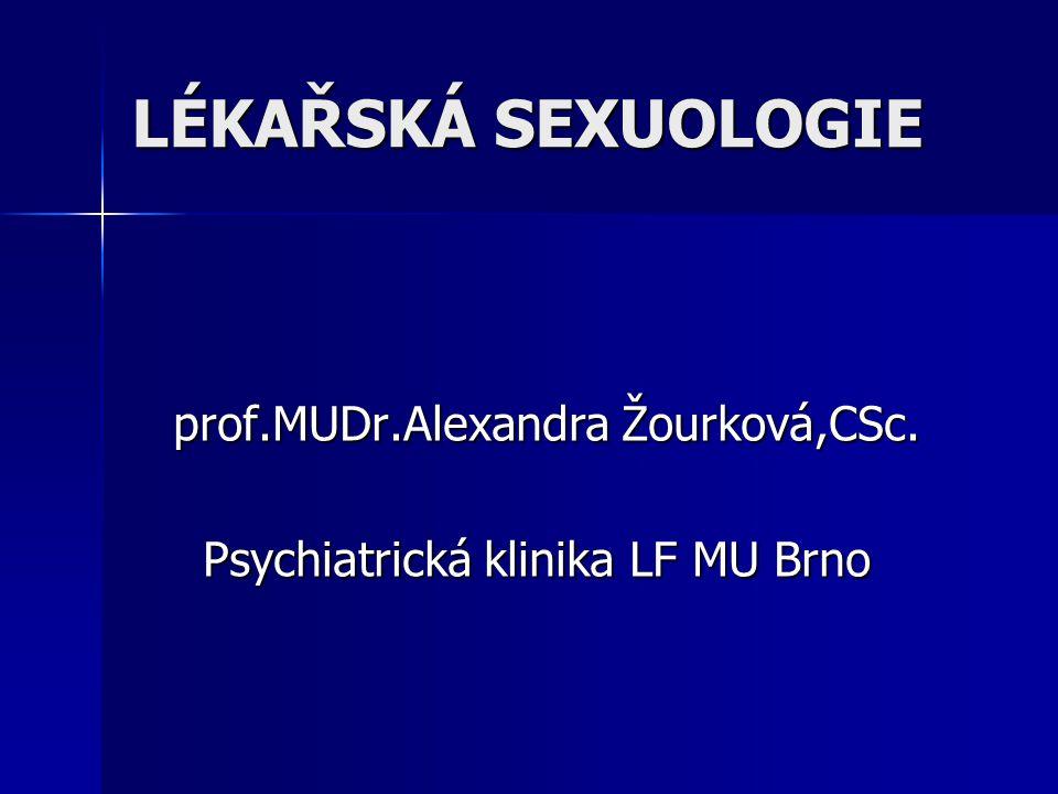 LÉKAŘSKÁ SEXUOLOGIE prof.MUDr.Alexandra Žourková,CSc. Psychiatrická klinika LF MU Brno Psychiatrická klinika LF MU Brno