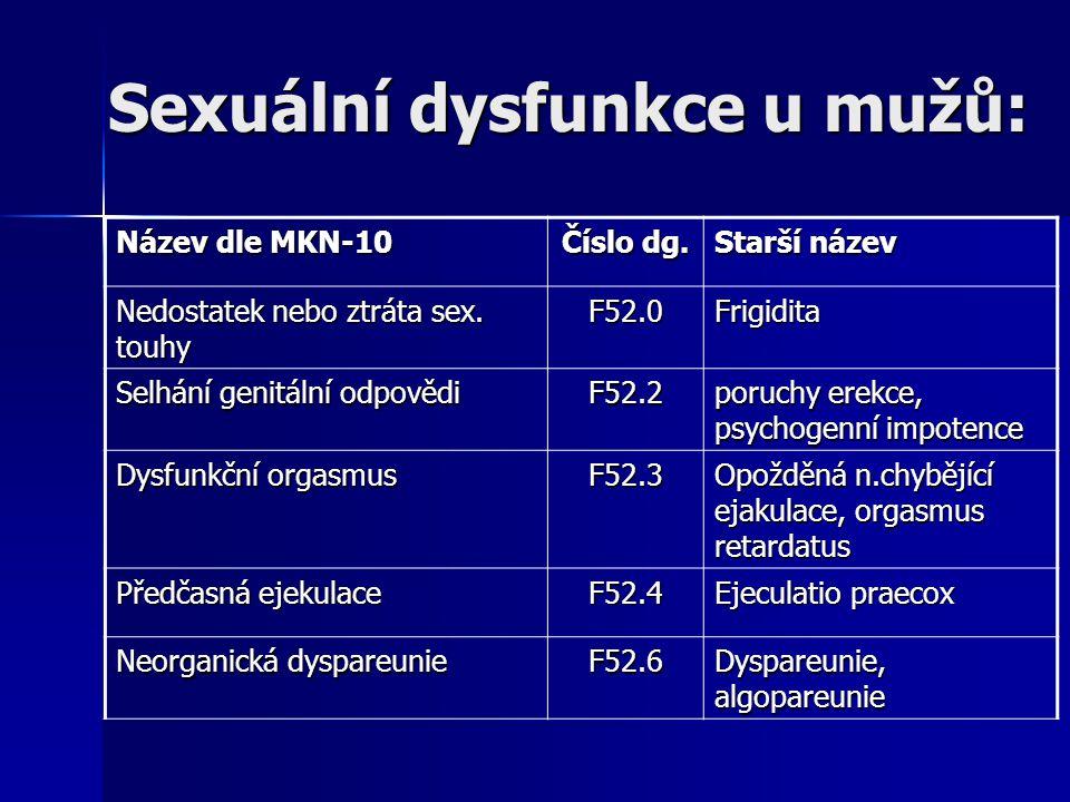 Sexuální dysfunkce u mužů: Název dle MKN-10 Číslo dg. Starší název Nedostatek nebo ztráta sex. touhy F52.0Frigidita Selhání genitální odpovědi F52.2 p