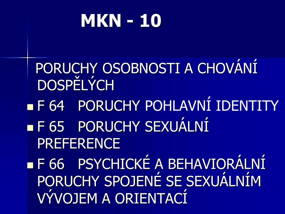 SEXUÁLNÍ DYSFUNKCE Nová klasifikace MKN-10 změnila názvy, názvy dysfunkcí u mužů a žen jsou shodné s výjimkou předčasné ejakulace (u mužů) a vaginismu (u žen) Nová klasifikace MKN-10 změnila názvy, názvy dysfunkcí u mužů a žen jsou shodné s výjimkou předčasné ejakulace (u mužů) a vaginismu (u žen)