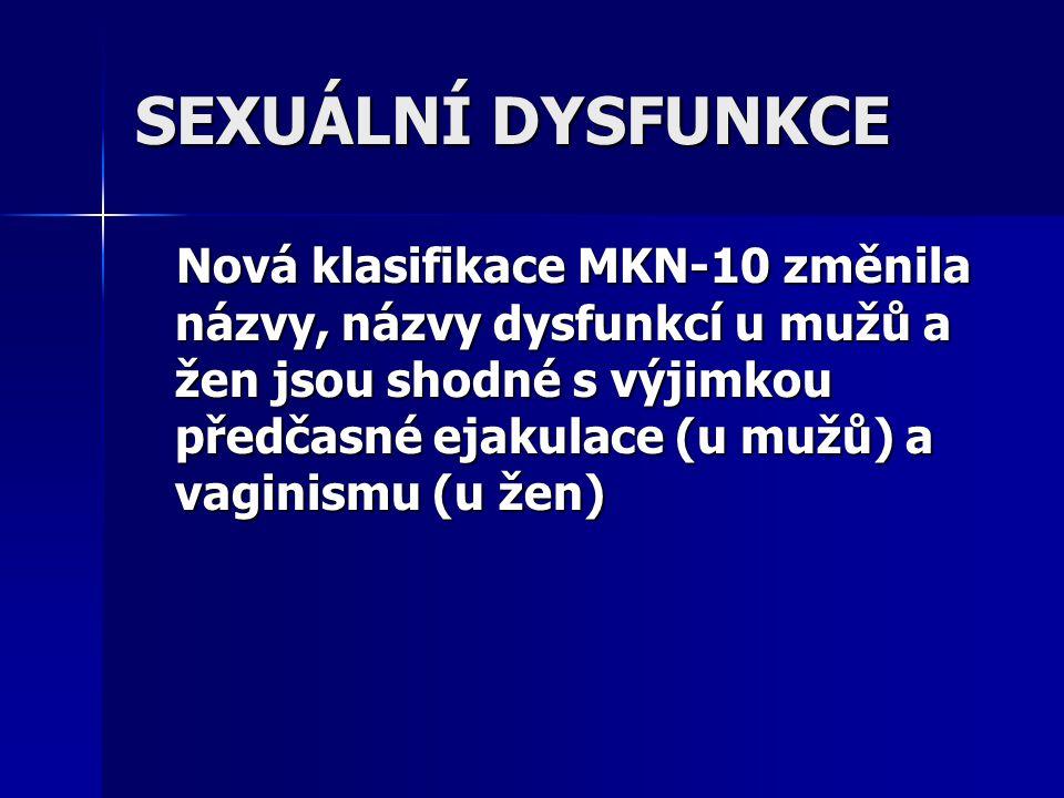 Sexuální dysfunkce u žen: Název dle MKN-10 Číslo dg.