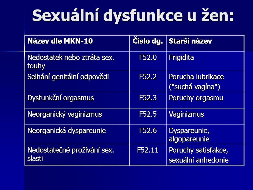 Sexuální dysfunkce u žen: Název dle MKN-10 Číslo dg. Starší název Nedostatek nebo ztráta sex. touhy F52.0Frigidita Selhání genitální odpovědi F52.2 Po