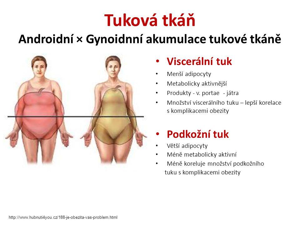 Tuková tkáň Metabolická aktivita Vliv na inzulinrezistenci a rozvoj DM Teorie: Metabolická interference - oxidace VMK a vychytávání (metabolizace) glukózy v buňce (substrátová kompetice) Ektopické ukládání tuku (ektopicky uložené lipidy - svaly a jaterní tkáň - negativní vliv na inzulínovou signalizaci) Endokrinní dysfunkce tukové tkáně - subklinický zánět Lipotoxicita Rezistin.