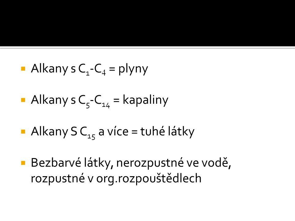  Alkany s C 1 -C 4 = plyny  Alkany s C 5 -C 14 = kapaliny  Alkany S C 15 a více = tuhé látky  Bezbarvé látky, nerozpustné ve vodě, rozpustné v org