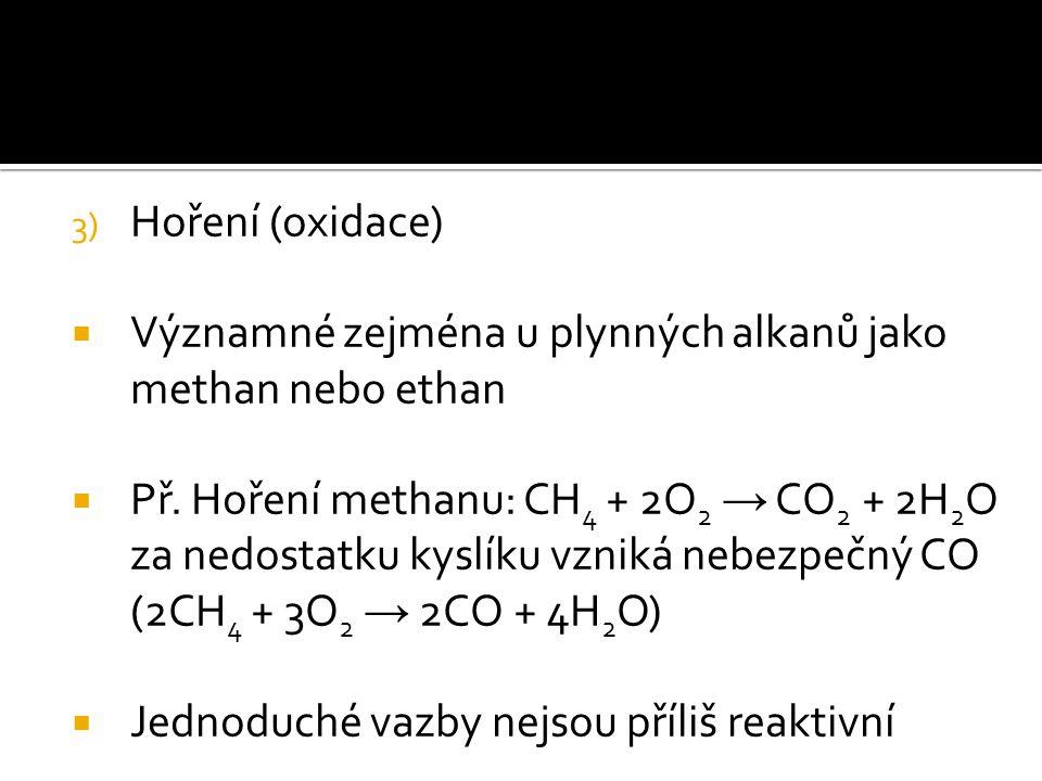 3) Hoření (oxidace)  Významné zejména u plynných alkanů jako methan nebo ethan  Př. Hoření methanu: CH 4 + 2O 2 → CO 2 + 2H 2 O za nedostatku kyslík