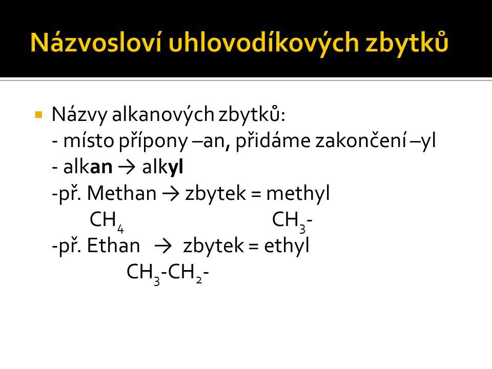  Názvy alkanových zbytků: - místo přípony –an, přidáme zakončení –yl - alkan → alkyl -př. Methan → zbytek = methyl CH 4 CH 3 - -př. Ethan → zbytek =