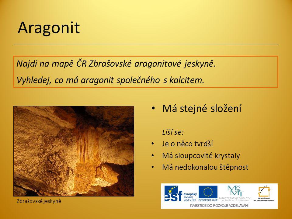 Aragonit Najdi na mapě ČR Zbrašovské aragonitové jeskyně.