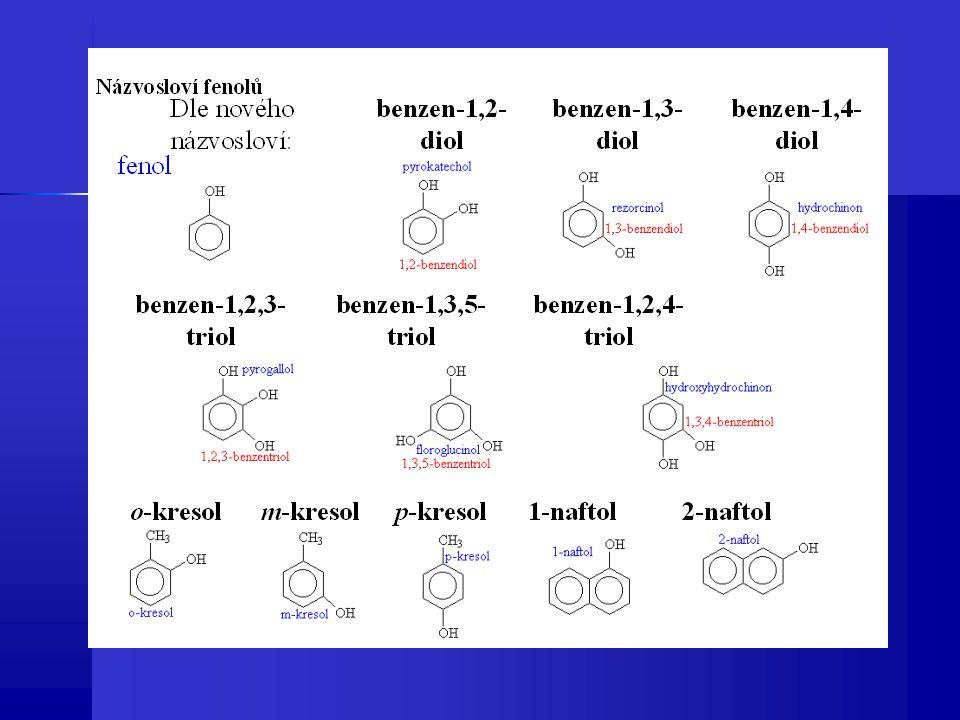 Výskyt fenolů Fenoly podobně jako alkoholy se vyskytují hojně, hydroxylové skupiny obsahují např.