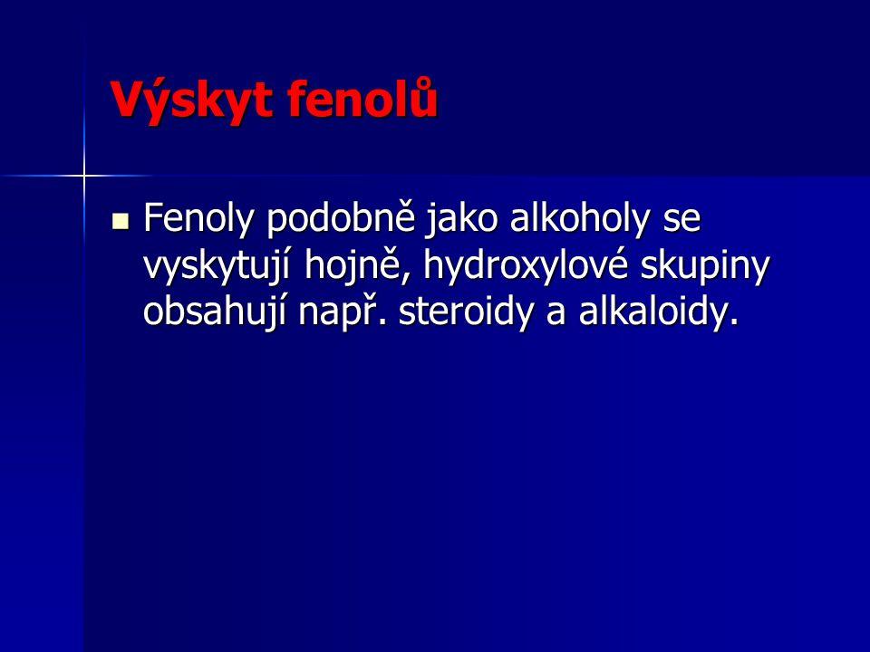 Výskyt fenolů Fenoly podobně jako alkoholy se vyskytují hojně, hydroxylové skupiny obsahují např. steroidy a alkaloidy. Fenoly podobně jako alkoholy s