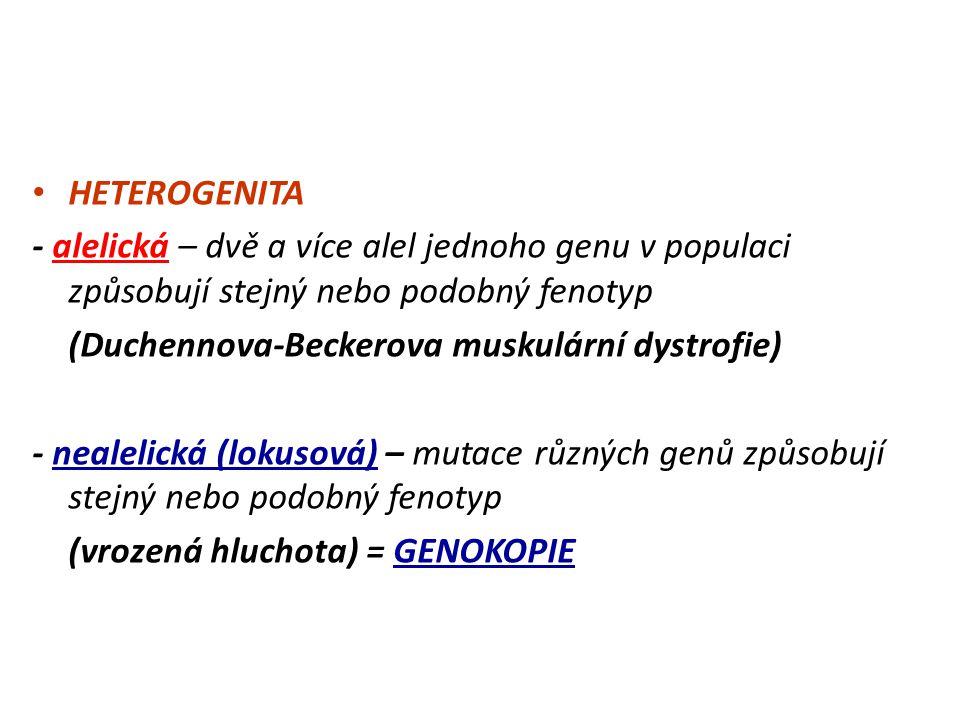 MonogeniePolygenieHeterogeniePleiotropieVazba genů Genová mutace nebo nebo Znak Příklad cystická fibrosa tělesná výška hluchotafenylketonuriehemofilie daltonismus m.