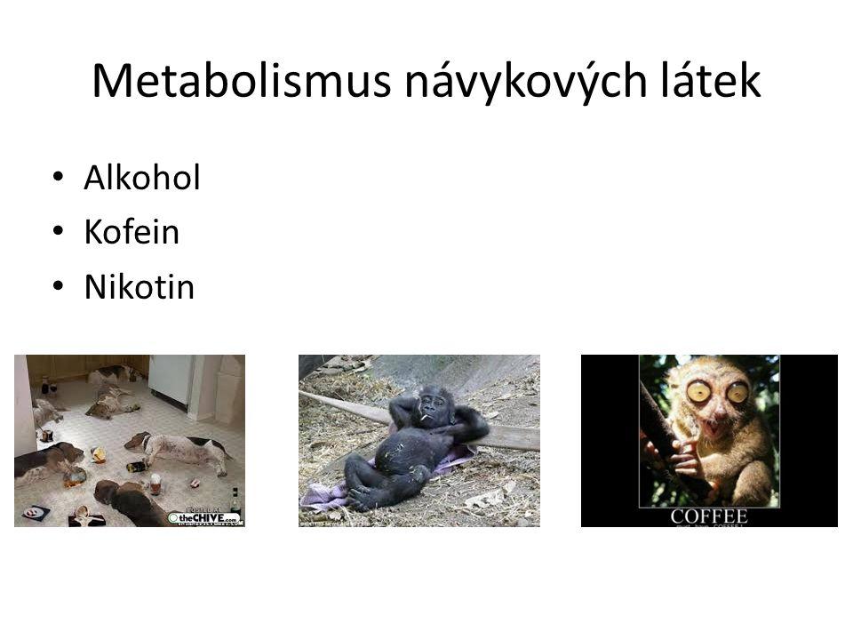 Metabolismus návykových látek Alkohol Kofein Nikotin