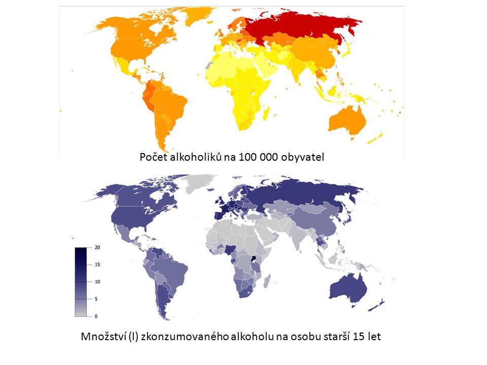 Množství (l) zkonzumovaného alkoholu na osobu starší 15 let Počet alkoholiků na 100 000 obyvatel