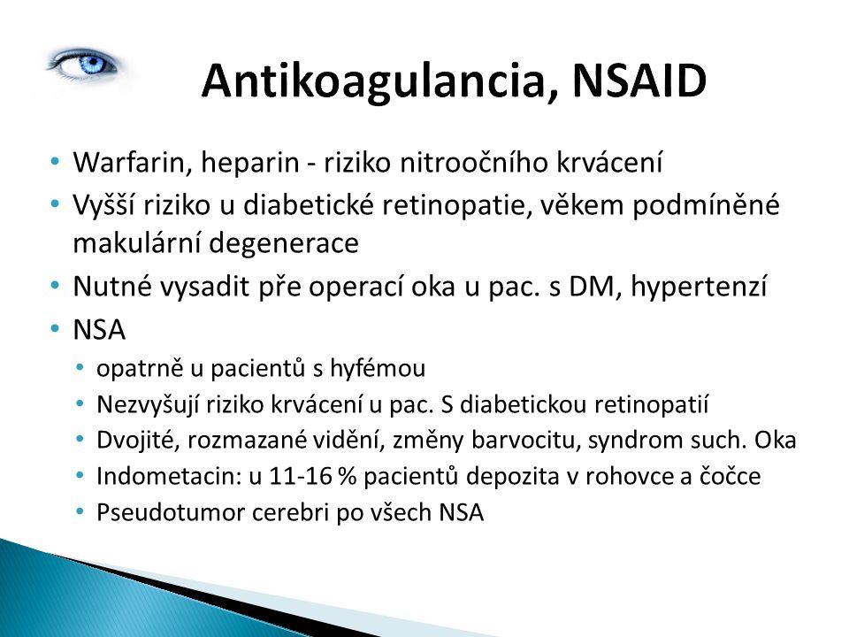 Warfarin, heparin - riziko nitroočního krvácení Vyšší riziko u diabetické retinopatie, věkem podmíněné makulární degenerace Nutné vysadit pře operací oka u pac.