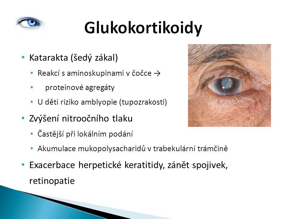 Katarakta (šedý zákal) Reakcí s aminoskupinami v čočce → proteinové agregáty U dětí riziko amblyopie (tupozrakosti) Zvýšení nitroočního tlaku Častější při lokálním podání Akumulace mukopolysacharidů v trabekulární trámčině Exacerbace herpetické keratitidy, zánět spojivek, retinopatie