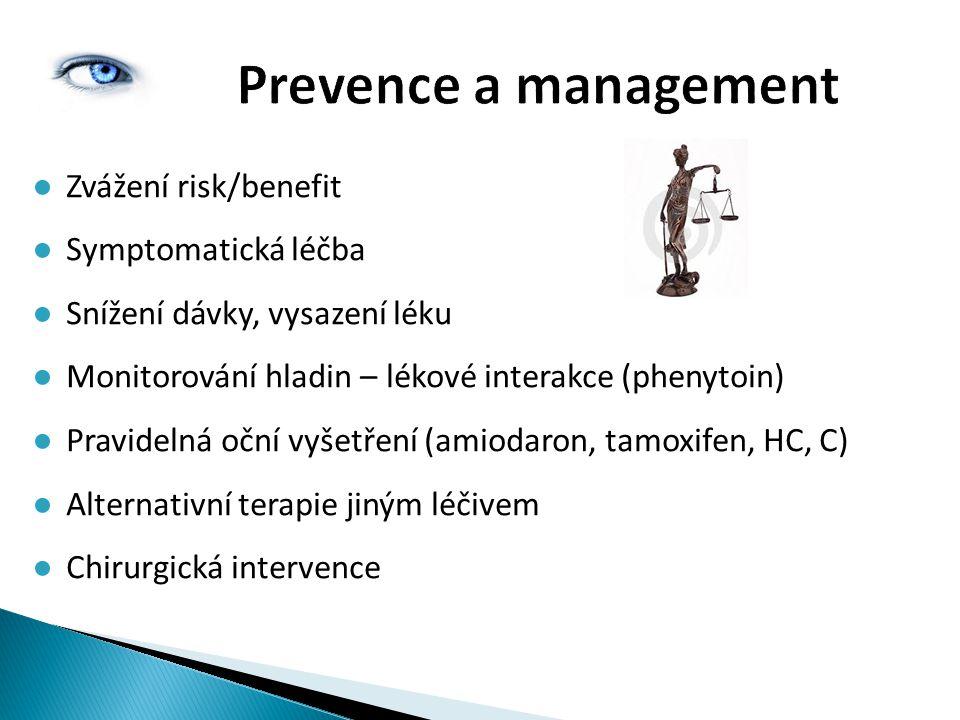 Prevence a management ●Zvážení risk/benefit ●Symptomatická léčba ●Snížení dávky, vysazení léku ●Monitorování hladin – lékové interakce (phenytoin) ●Pr