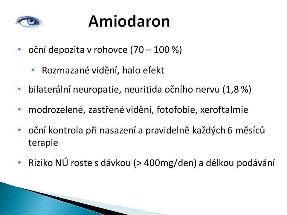 Amiodaron oční depozita v rohovce (70 – 100 %) Rozmazané vidění, halo efekt bilaterální neuropatie, neuritida očního nervu (1,8 %) modrozelené, zastře