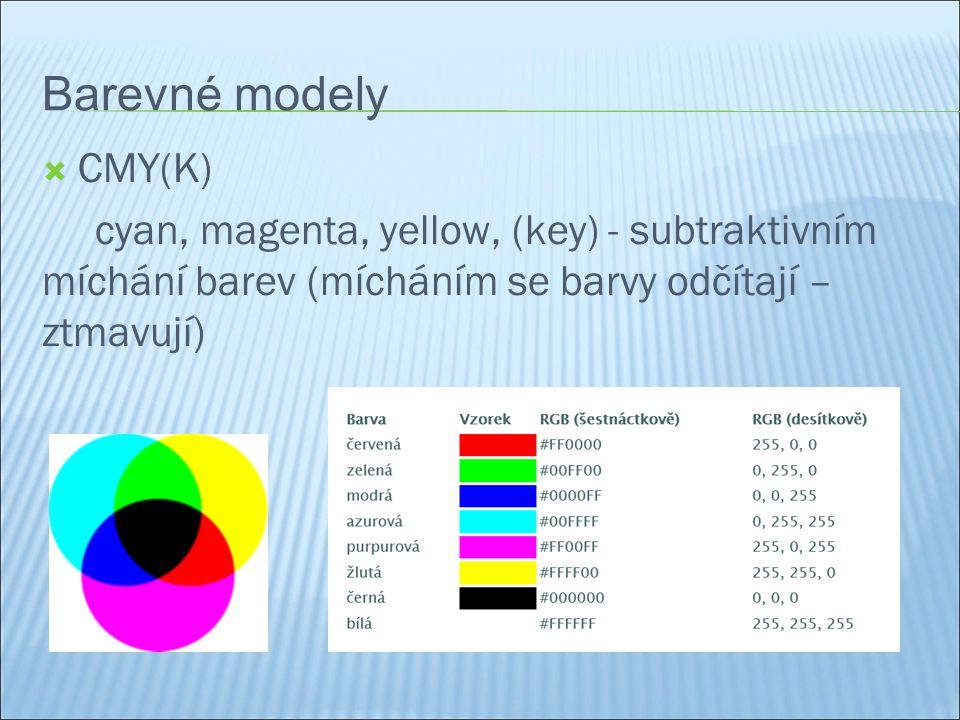 Barevné modely  CMY(K) cyan, magenta, yellow, (key) - subtraktivním míchání barev (mícháním se barvy odčítají – ztmavují)