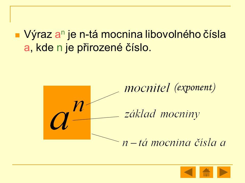 Výraz a n je n-tá mocnina libovolného čísla a, kde n je přirozené číslo. (exponent)