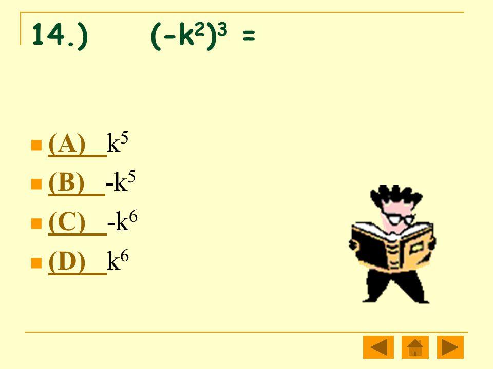 14.) (-k 2 ) 3 = (A) k 5 (A) (B) -k 5 (B) (C) -k 6 (C) (D) k 6 (D)