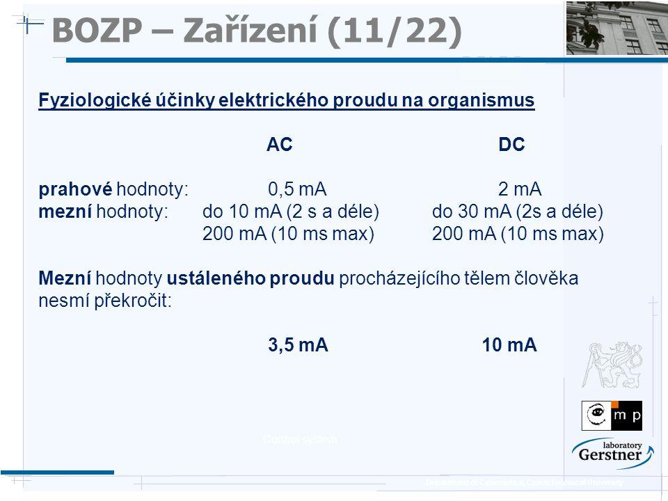 Department of Cybernetics, Czech Technical University BOZP – Zařízení (11/22) Fyziologické účinky elektrického proudu na organismus AC DC prahové hodn