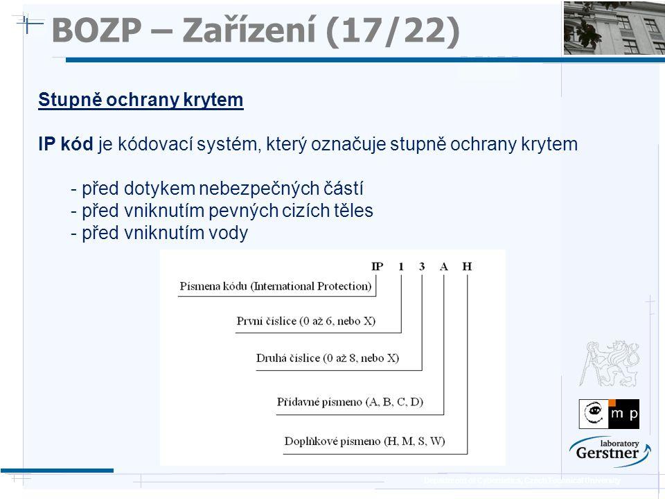 Department of Cybernetics, Czech Technical University BOZP – Zařízení (17/22) Stupně ochrany krytem IP kód je kódovací systém, který označuje stupně o