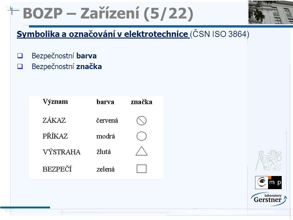 Department of Cybernetics, Czech Technical University BOZP – Zařízení (5/22) Symbolika a označování v elektrotechnice (ČSN ISO 3864)  Bezpečnostní ba
