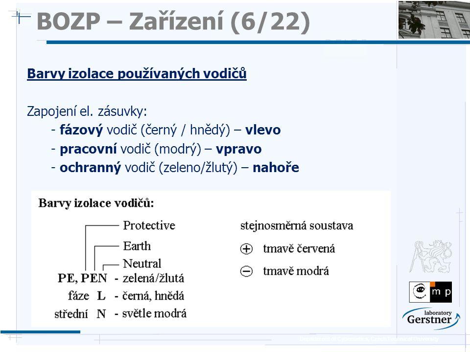 Department of Cybernetics, Czech Technical University BOZP – Zařízení (6/22) Barvy izolace používaných vodičů Zapojení el. zásuvky: - fázový vodič (če