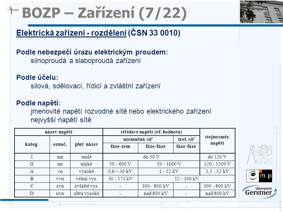 Department of Cybernetics, Czech Technical University BOZP – Zařízení (7/22) Elektrická zařízení - rozdělení (ČSN 33 0010) Podle nebezpečí úrazu elekt