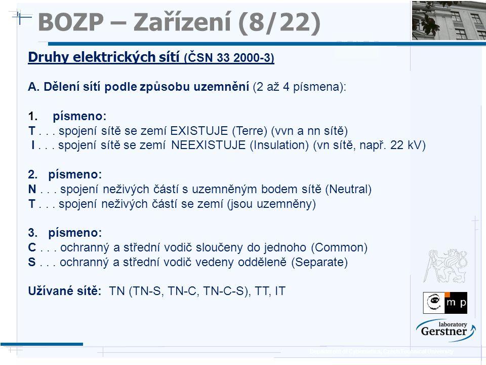 Department of Cybernetics, Czech Technical University BOZP – Zařízení (8/22) Druhy elektrických sítí (ČSN 33 2000-3) A. Dělení sítí podle způsobu uzem