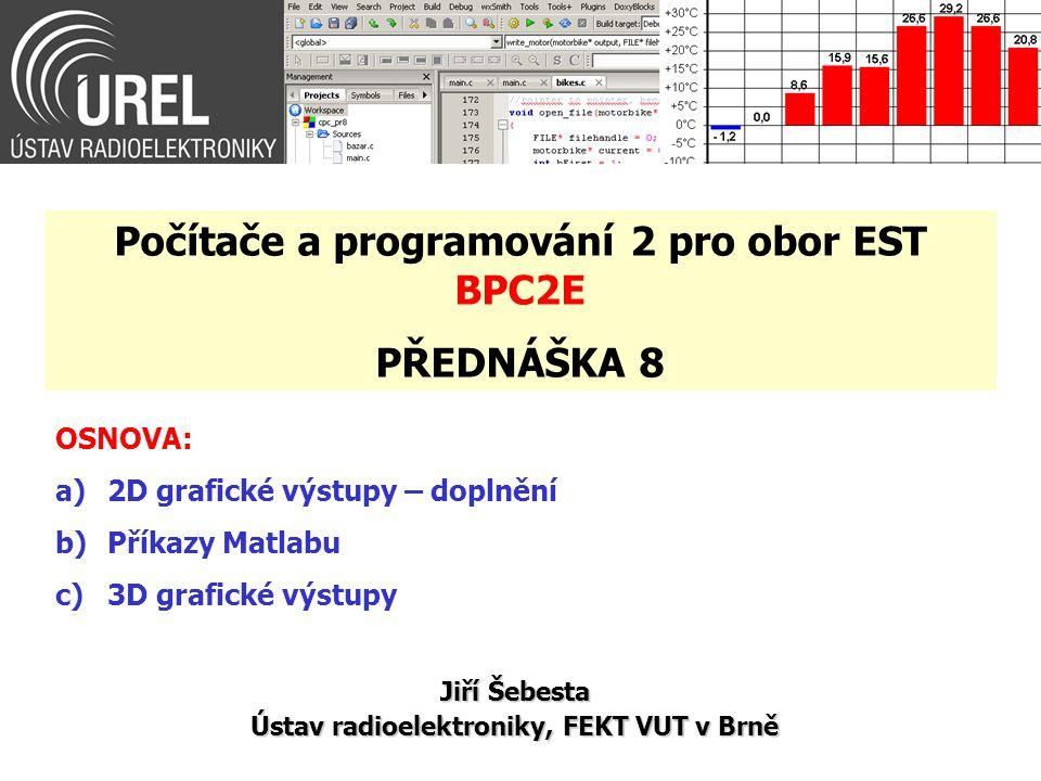 OSNOVA: a)2D grafické výstupy – doplnění b)Příkazy Matlabu c)3D grafické výstupy Jiří Šebesta Ústav radioelektroniky, FEKT VUT v Brně Počítače a progr