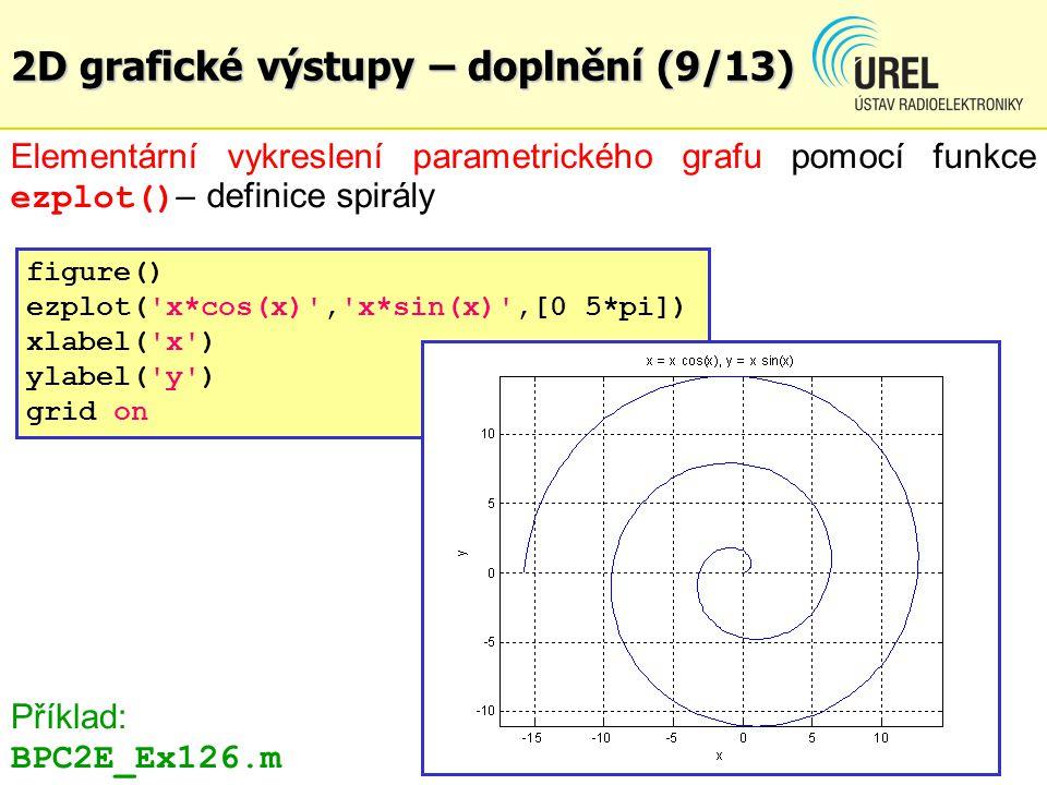 2D grafické výstupy – doplnění (9/13) Elementární vykreslení parametrického grafu pomocí funkce ezplot() – definice spirály figure() ezplot('x*cos(x)'