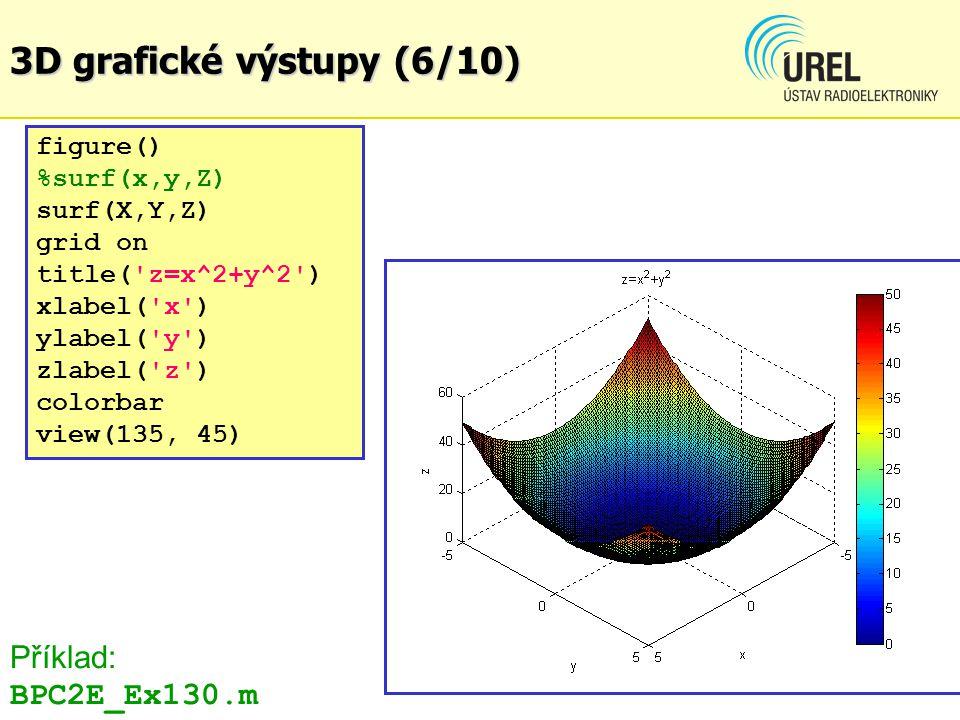 3D grafické výstupy (6/10) figure() %surf(x,y,Z) surf(X,Y,Z) grid on title('z=x^2+y^2') xlabel('x') ylabel('y') zlabel('z') colorbar view(135, 45) Pří