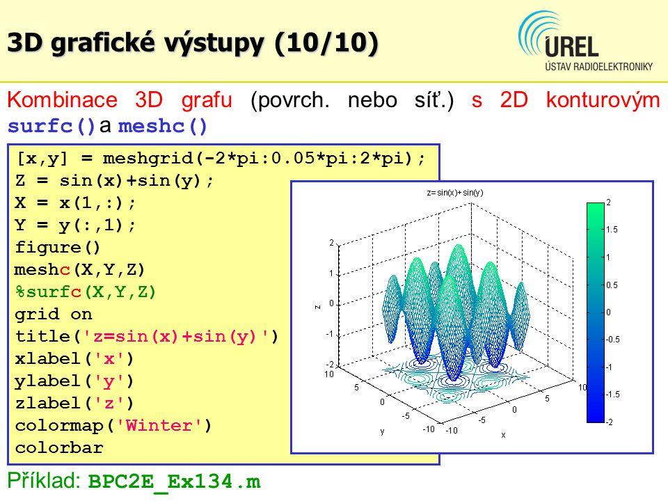 3D grafické výstupy (10/10) Kombinace 3D grafu (povrch. nebo síť.) s 2D konturovým surfc() a meshc() [x,y] = meshgrid(-2*pi:0.05*pi:2*pi); Z = sin(x)+