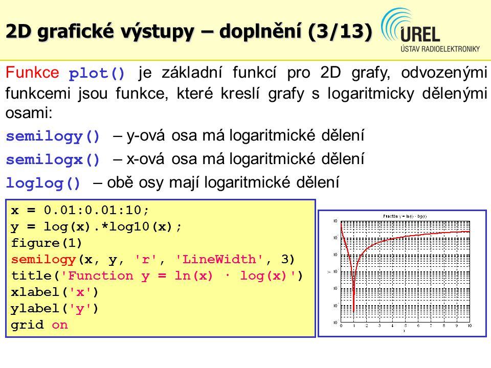 2D grafické výstupy – doplnění (4/13) figure(2) semilogx(x, y, r , LineWidth , 3) title( Function y = ln(x) · log(x) ) xlabel( x ) ylabel( y ) grid on figure(3) loglog(x, y, r , LineWidth , 3) title( Function y = ln(x) · log(x) ) xlabel( x ) ylabel( y ) grid on Příklad: BPC2E_Ex121.m