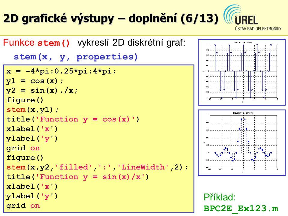 2D grafické výstupy – doplnění (7/13) Funkce plotyy() vykreslí 2D graf s různým rozsahem v y -ové ose, vykreslí se dvě měřítka na levé a pravé straně plotyy(x1, y1, x2, y2, style) Vykreslí grafy funkcí x1 = f(y1) a x2 = f(y2) ve stylu style x = 0.01:0.01:10; y1 = log(x).*sin(3*x); y2 = (x.^2).*cos(2*x); figure() plotyy(x, y1, x, y2, plot ) title( Functions ln(x)·sin(3x) and x^2·cos(2x) ) xlabel( x ) ylabel( y ) grid on Příklad: BPC2E_Ex124.m