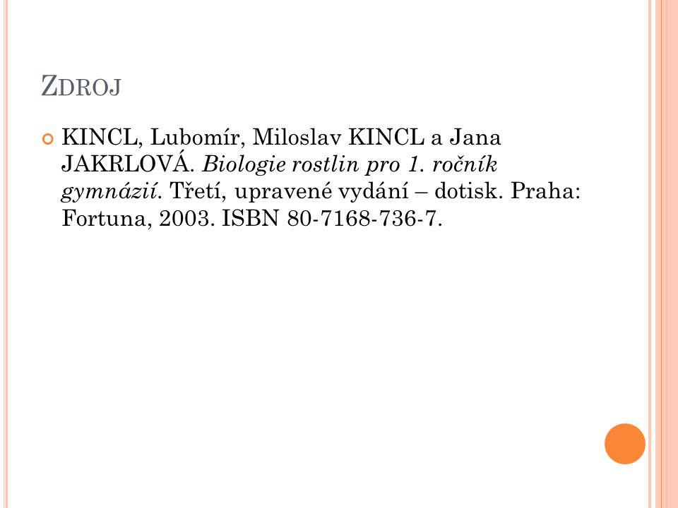 Z DROJ KINCL, Lubomír, Miloslav KINCL a Jana JAKRLOVÁ. Biologie rostlin pro 1. ročník gymnázií. Třetí, upravené vydání – dotisk. Praha: Fortuna, 2003.