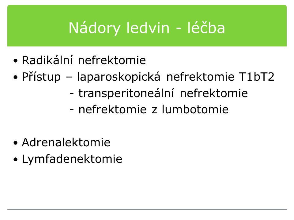 Nádory ledvin - léčba Radikální nefrektomie Přístup – laparoskopická nefrektomie T1bT2 - transperitoneální nefrektomie - nefrektomie z lumbotomie Adre